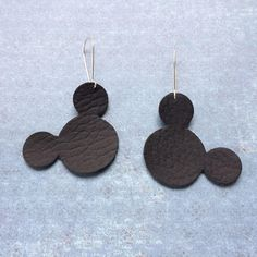 Mouse earrings black leather mouse earrings black leather