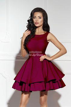 afb44a4a90 Sukienkowo.com - AUDREY - podwójnie rozkloszowana sukienka bordowa