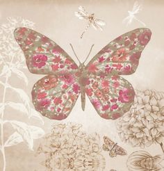 Enchanted Butterfly (004101) - Arthouse Art - A printed canvas of a large floral butterfly with glittered detailing. co-ordinates well with the Enchanted Wings and Midsummer wallpapers. Frame size: 40 x 40 x 1.8cm deep. Samples not available for this product.
