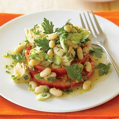 """Tomato """"Bruschetta"""" with Tuna and Cannellini Salad  Great for summer with heirloom tomatoes."""