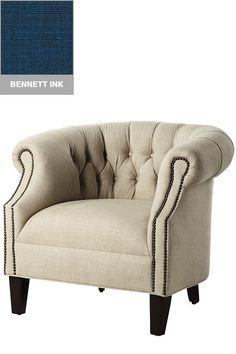 Barrel arm chair. Comes in many different colors and prints.