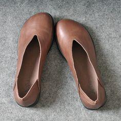 Zapatos de cuero hechos a mano retro de las mujeres