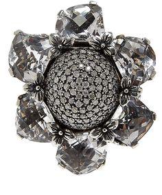 Stephen Dweck Silver Citrine and Diamond Flower Ring