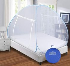 Stylish design mosquito net: - BACKBONE mosquito net is a stylish and uniquely designed hassle-free mosquito net that not only protects you from insect bites but also gives your bedroom and beds a stylish and luxurious look. The thin transparent cover gives a royal look to your bed as well as the bedroom.  Foldable and self-supporting: - They are easily foldable and thus easy to wash and easy to use too. You can get a free storage bag to keep the mosquito net after folding. Canopy Bed Curtains, Canopy Bed Frame, King Beds, Queen Beds, Romantic Room Decoration, Mosquito Net Bed, Single Size Bed, Types Of Beds, Pink Bedding