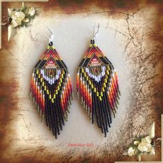 Beaded Fringe Earrings Secrets Of The Ancients SALE di Bead4Fun