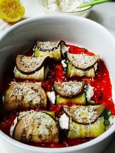 aubergine rolletjes met ricotta en spinazi