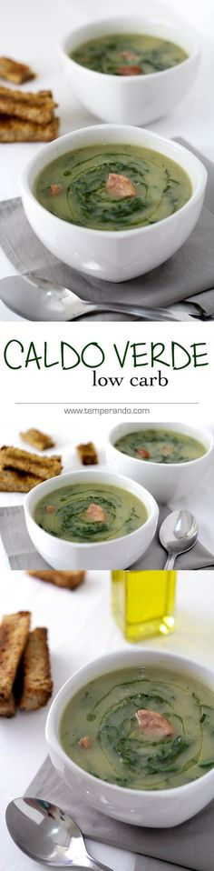 CALDO VERDE - Receita deliciosa de caldo verde adaptada para a versão low carb (baixa em carboidrato), mas igualmente deliciosa e… Low Carb Recipes, Real Food Recipes, Soup Recipes, Vegetarian Recipes, Healthy Recipes, Caldo Verde Low Carb, Sopas Low Carb, Comidas Light, Menu Dieta