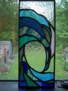 Small Crashing Wave Stained Glass Panel by waythecookiecrumbles, $50.00