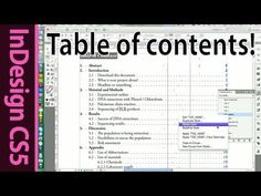 InDesign Table of Contents for text documents - CS5 Tutorial (Part 7) - YouTube
