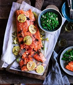 Slow cooked ocean trout with peas, myer lemon and fennel salsa