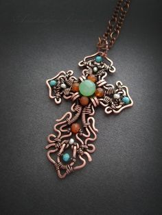Cross (copper, chalcedony, turquoise, pearl, carnelian) rr 4.5 * 7 cm Wire Crafts, Jewelry Crafts, Jewelry Art, Jewelry Design, Cross Jewelry, Metal Jewelry, Beaded Jewelry, Wire Pendant, Pendant Jewelry