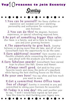 10 Reasons to Join My Team! Scentsy has so many opportunities and possibilities to make any dream happen! So, what is the hold up join today!!!
