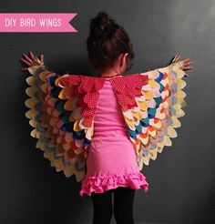 DIY Bird Wings Costume for Kids     Best with non-frayable fabric like knits,  me thinks.