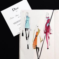 Fashion Illustrator @meliquestreet is live sketching for Dior show #pfw15 with @fashionary sketchbook!! beautiful quick sketches and lines!!!