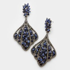 "Gorgeous Navy Fashion Earrings on Gun Metal  3"" long Great for prom, homecoming, pageant or just a night out on the town Comes in different colors"