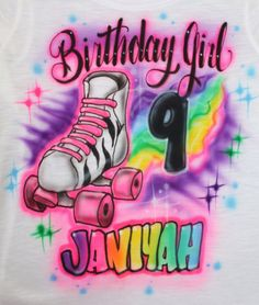 Airbrushed Girls Roller Skate Birthday Party T by EternalAirbrush, $16.99
