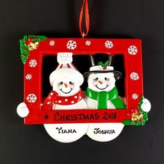 Couple's Personalized Christmas Ornament Red Photo Prop Snowman Couple Handmade Customized Holiday Gift With Handwritten Names Photo Frame Prop, Photo Props, Personalized Christmas Ornaments, Handmade Ornaments, Christmas Tree Themes, Christmas Tree Ornaments, Holiday Gifts, Christmas Gifts, Etsy App