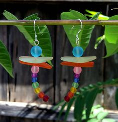 Sea Glass Dragonfly Earrings by SmithNJewels on Etsy