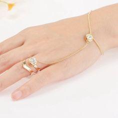 Hot Fashion Punk Jewelry Women Lady Rhinestone Crystal Gold Plated Ring Bracelet for sale online Diamond Bracelets, Silver Bracelets, Bangle Bracelets, Gold Bracelet For Women, Hand Bracelet With Ring, Ring Bracelet Chain, Cross Bracelets, Beach Bracelets, Women's Bracelets
