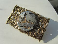 Steampunk Statement Brooch Pin vintage watch movement gift for Her Birthday gift  Lapel Pin Assemblage Brooch OOAK cosplay