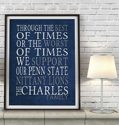 """Penn State Nittany Lions Personalized Art Print- """"Best of Times"""" Dickens Parody- Unframed"""