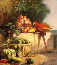 Fruit and Vegetables with a Parrot - Eugene Boudin