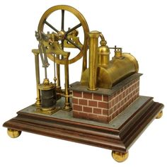 For Sale on - A fine example of a mid century model steam engine with boiler and a circular saw. Locomotive Engine, Electric Locomotive, Steam Engine For Sale, Live Steam Models, Live Model, Exhibition Models, Steam Boats, Industrial, Boiler