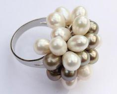 anillo de plata, con perlas cultivadas