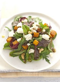butternut, feta and cashew salad with mustard seeded vinaigrette Real Food Recipes, Vegetarian Recipes, Snack Recipes, Cooking Recipes, Healthy Recipes, Pumkin Recipes, Greens Recipe, Everyday Food, Cooking Light