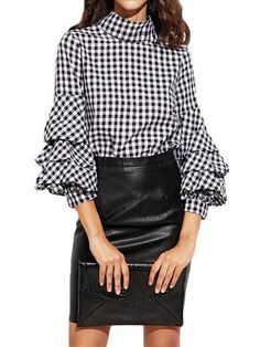 New Arrival Female Big Size Black Plaid Casual Blouse Spring Cotton Linen Spliced Pleated Loose Shirts Do You Want To Buy Some Chinese Native Produce? Women's Clothing