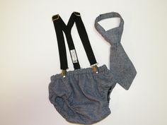 Newborn Toddler Baby  Boy Necktie, Diaper cover and suspender  set custom Order your design. $45.00, via Etsy.