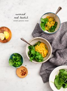 Curried Red Lentil Sweet Potato Stew - a hearty healthy weeknight dinner that's packed with flavor! Made with red lentils sweet potato ginger spinach green beans and peas. Easy vegan and gluten-free. Red Sweet Potato, Sweet Potato Stew Recipe, Potato Soup, Vegetarian Soup, Vegetarian Recipes, Healthy Recipes, Healthy Eats, Vegetable Recipes, Healthy Weeknight Dinners