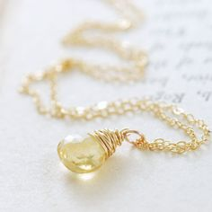 Citrine Necklace Wrapped in 14k Gold Fill November by aubepine