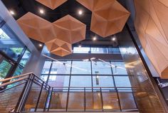 Hexagon Ceiling Panels - Arktura SoundStar® Ceiling Panels, Ceiling Lights, Best Interior Design Apps, Wood Texture, Ceiling Design, Honeycomb, Geometric Shapes, Acoustic, Lighting