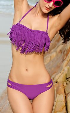 Sexy Crisscross Fringe Bikini Set - Purple on Chiq  18.98 http   www. 7c8f3be176