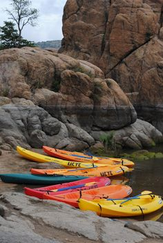 Kayaks Prescott Arizona Granite Dells 8x10 canvas by bellereb4366,