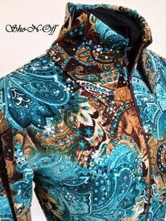 HORSE SHOW CLOTHING, WESTERN HORSE SHOW APPAREL-SHO-N-OFF. ak - i like hoe the finess is in the fabric but its jeweled up a little.