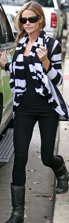 Who made  Denise Richards' stripe cardigan sweater, black sunglasses, and lace boots?