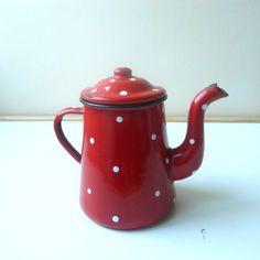 Kitchenalia  vintage red polka dot enamel water by AntiquEmporiums, $34.00