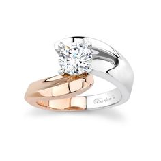 WHITE & ROSE GOLD SOLITAIRE ENGAGEMENT RING - 6835LW