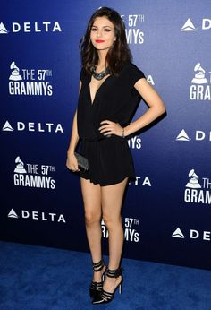 Victoria Justice, A Celebration of the annual GRAMMY Awards event in West Hollywood February 2015 Victoria Justice Outfits, Victorious Justice, Princess Victoria, Celebrity Pictures, Sexy Legs, Gorgeous Women, Celebs, Female Celebrities, Mini Skirts