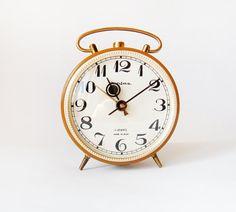 I LOVE LOVE THIS!   Gorgeous Mustard Russian Jantaz Clock  vintage alarm by wwvintage, $59.00