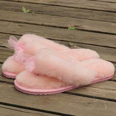 100% Australian Sheepskin Wool Slippers with Bowknot