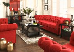 Sectional Living Room Ideas Can Be Fun For Everyone 196 - homesdeccor Black And Red Living Room, Red Couch Living Room, Red Living Room Decor, Living Room Table Sets, Classic Living Room, Living Room Sectional, Living Room Ideas With Red Couches, Modern Living, Software