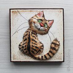 Мурмяшки - Сайт vladulena! Diy Art Projects Canvas, Diy Canvas Art, Cat Crafts, Animal Crafts, Comic Cat, Cuadros Diy, Clay Cats, Chicken Art, Anime Animals