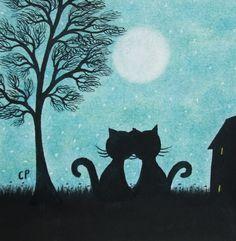 #Cat Card; #Valentines Card, #Romantic Cat Card, Valentine Cat #Moon Card, #Love Cat Card, Black Cat Valentine Art Card, Moon Card, Cat Tree Card by ClaudinesArtCards on Etsy