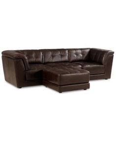 Stacey Leather 4-Piece Modular Sectional Sofa (Armless Chair, 2 Square Corner Units and Ottoman)
