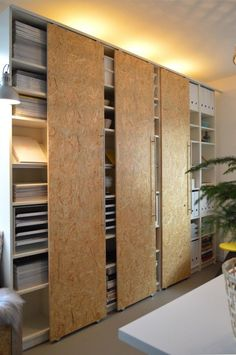 DIY sliding doors using casters on the top and bottom of the doors. In German.