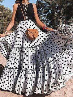 New Sexy Sleeveless Polka Dot Dress Set – dresshelike Womens Maxi Skirts, Printed Maxi Skirts, Pleated Skirts, Long Skirts, Cheap Skirts, Look Fashion, Fashion Models, Womens Fashion, Fashion Brands