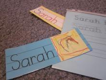 Displaying children's names in preschool  (early literacy)